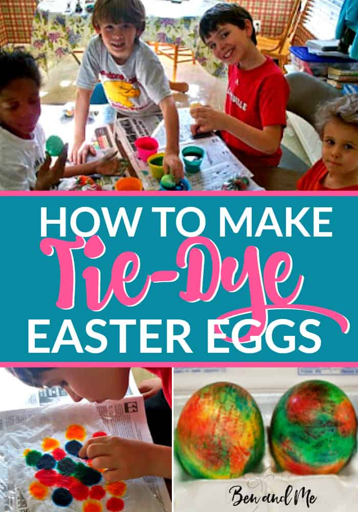 How to Make Tie-Dye Easter Eggs -- tie-dyeing Easter eggs is super simple and requires just a few items you probably have in your kitchen!