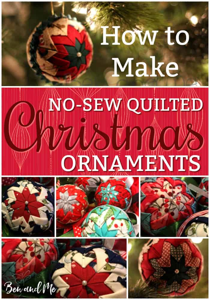 How to make homemade quilted Christmas ornaments - no sewing required. These beautiful ornaments make wonderful gifts for friends and family. Make them with your tweens and teens for loads of family fun! #nosewcrafts #quiltedprojects #christmasornaments #DIYchristmas #DIYornaments #Christmascrafts