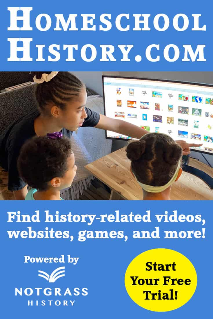 This membership sites provides history-related videos, websites, games, and more to enrich your history studies. It is the perfect adjunct to your history studies, no matter what curriculum you are using or what time period. They are currently offering a 60-day FREE trial (no credit card required). #homeschool #homeschooldeals #homeschoolhistory #homeschoolhelps