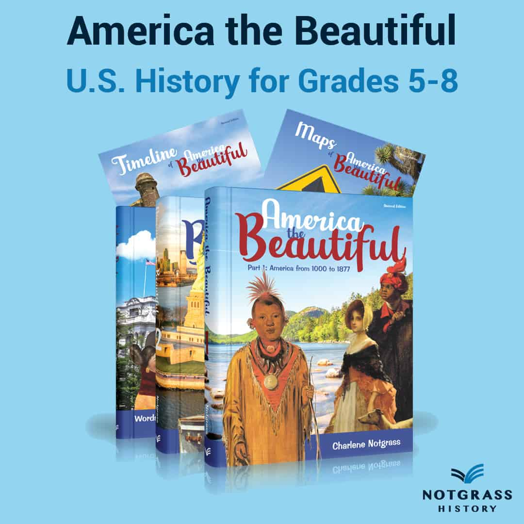 If you're looking for homeschool curriculum for teaching American History from a Christian worldview, America the Beautiful is an excellent choice for a one-year course for students grades 5-8. It combines the flexibility and richness of a unit study with the simplicity of a textbook-based approach to history and highlights key events, people, and places. #homeschool #homeschoolhistory #americathebeautiful #notgrasshistory