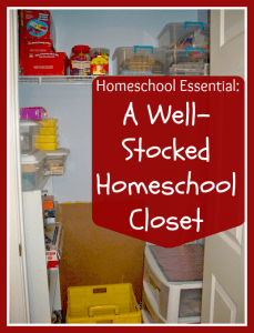 well stocked homeschool closet
