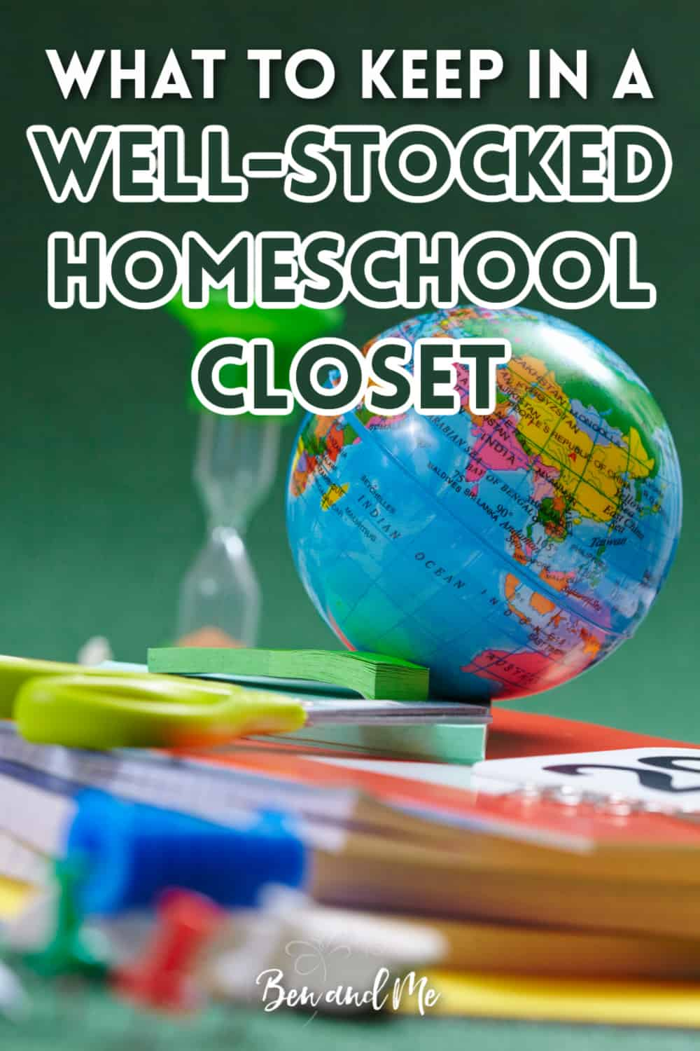Be ready for anything your child finds interestingly by keeping a well-stocked homeschool closet. Includes ideas for science, math, geography, nature study, games, and crafts! #homeschool #homeschoolsupplies #homeschoolcrafts #homeschoolroom