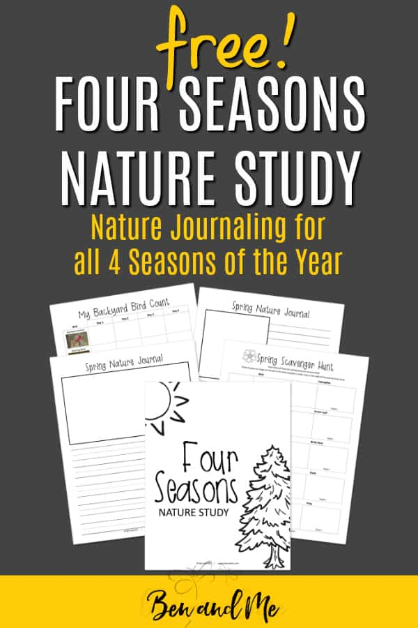 Encourage your children to keep a nature journal with this free printable journal for all four seasons. Includes scavenger hunts, draw and write pages, backyard bird count, and more! #homeschool #nature #naturestudy #freeprintables #printables