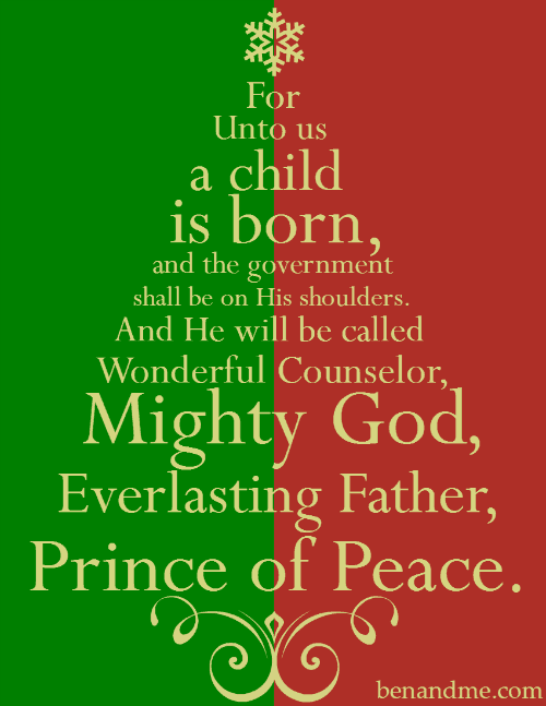 For Unto Us a Child Is Born (Isaiah Christmas Tree Print)