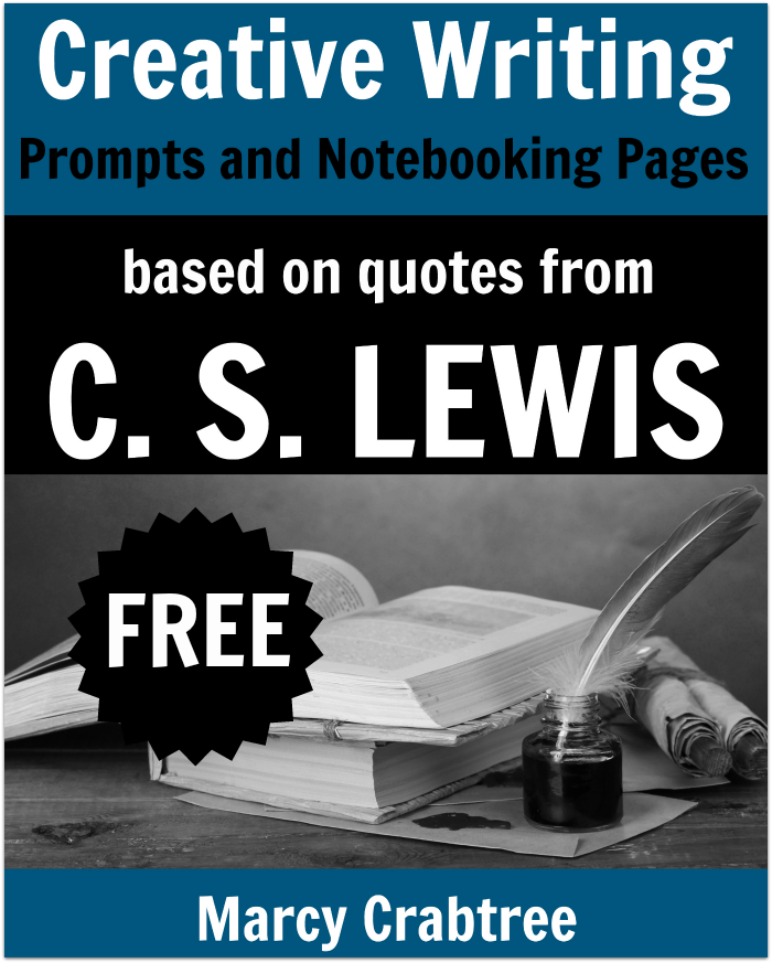 FREE Creative Writing Prompts and Notebooking Pages based on quotes from C. S. Lewis. Use in your homeschool for creative writing in middle school or high school. #homeschool #homeschooling #writingprompts #freeprintables #highschool #middleschool #cslewis