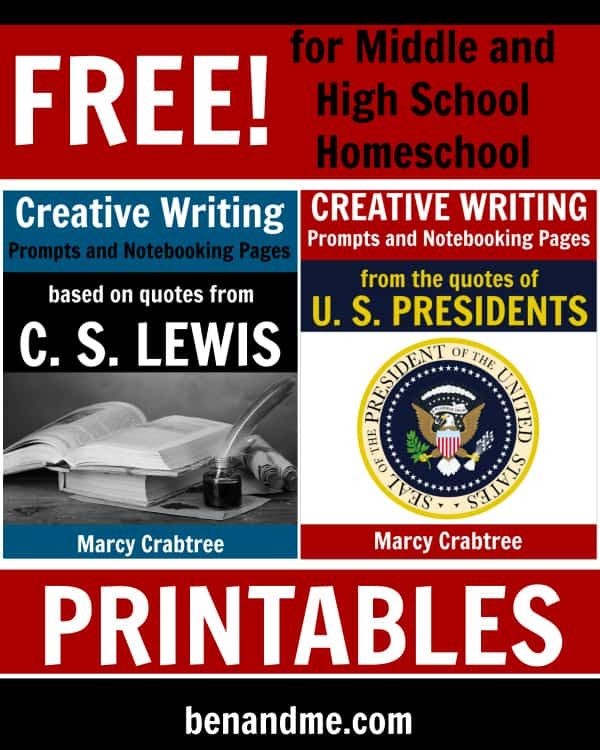 Free Creative Writing Prompts and Notebooking Pages from the quotes of C. S. Lewis and U. S. Presidents
