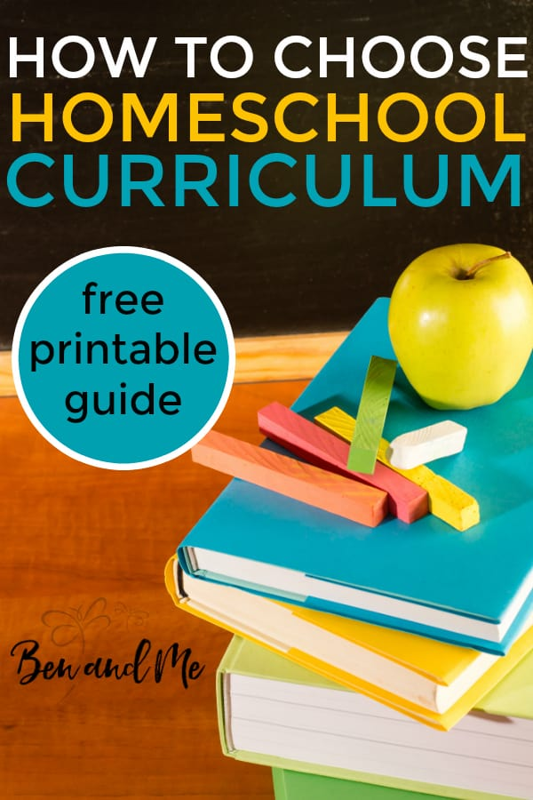 How to choose homeschool curriculum, with a free printable guide with questions to help you determine method, learning style, and more! #homeschool #homeschooling #homeschoolcurriculum #freeprintable
