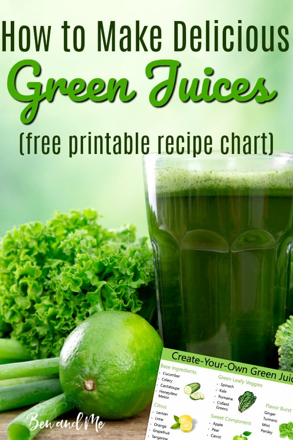 Create your own delicious green juice recipes with this simple formula. Includes printable template to hang on your fridge and a yummy green juice recipe to get you started. #juicerecipes #juicing #howtojuice #fatsickandnearlydead #meangreenjuicerecipe