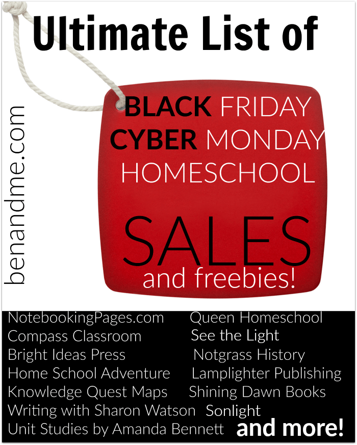 Ultimate List of Homeschool Sales for Black Friday and Cyber Monday