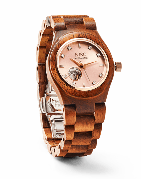 JORD Wood Watch -- Cora Zebrawood and Rose