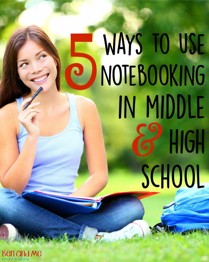 A glimpse at how to homeschool using Notebooking for different subjects (Bible, writing, geography, history, and science) in middle and high school.