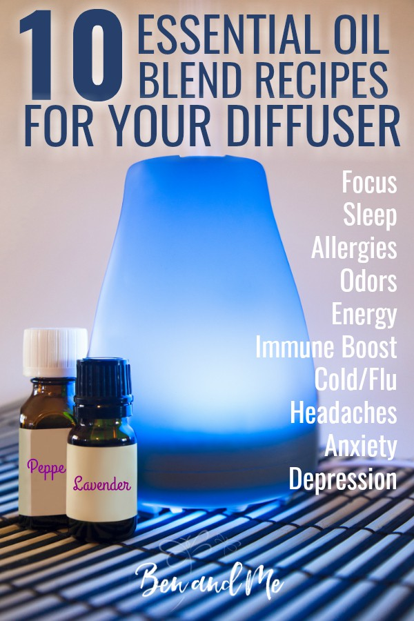 If you are looking for help for essential oils for beginners, these essential oil recipes each contain only 2-4 essential oils and will help you in all aspects of your everyday life. Whether you need help with allergies and headaches or sleep and focus, eliminating odors, boosting immune system or help relieving symptoms of anxiety, depression, cold, or flu -- these DIY blend recipes are amazingly helpful. #aromatherapy #essentialoils #wellness #healthyliving #healthy