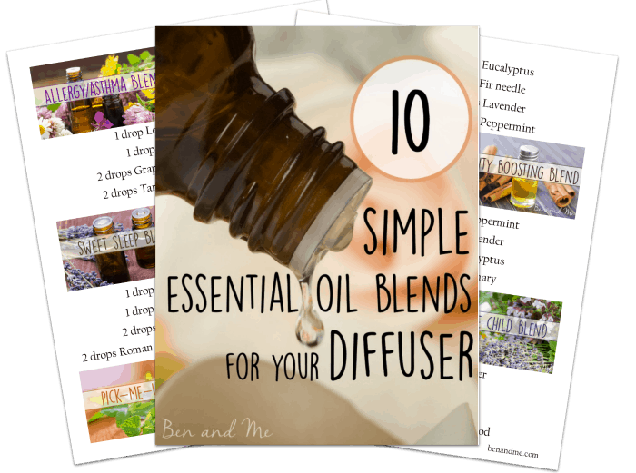 Download this free printable with 10 Essential Oil Blends for Your Diffuser
