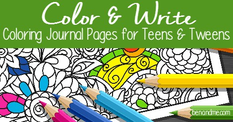 Color and Write Coloring Journal Pages for Teens and Tweens FB