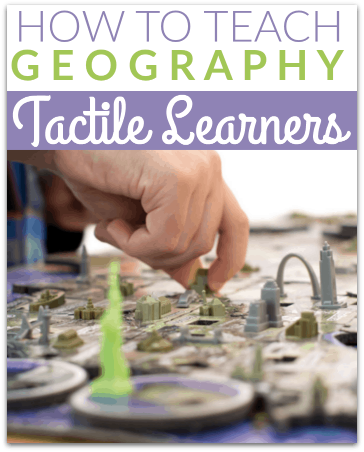 Learn how to teach geography to tactile learners in your homeschool with games, puzzles, maps, notebooking, field trips, and more. #homeschool #homeschooling #tactilelearners #homeschoolgeography #geography #puzzles #educationalgames