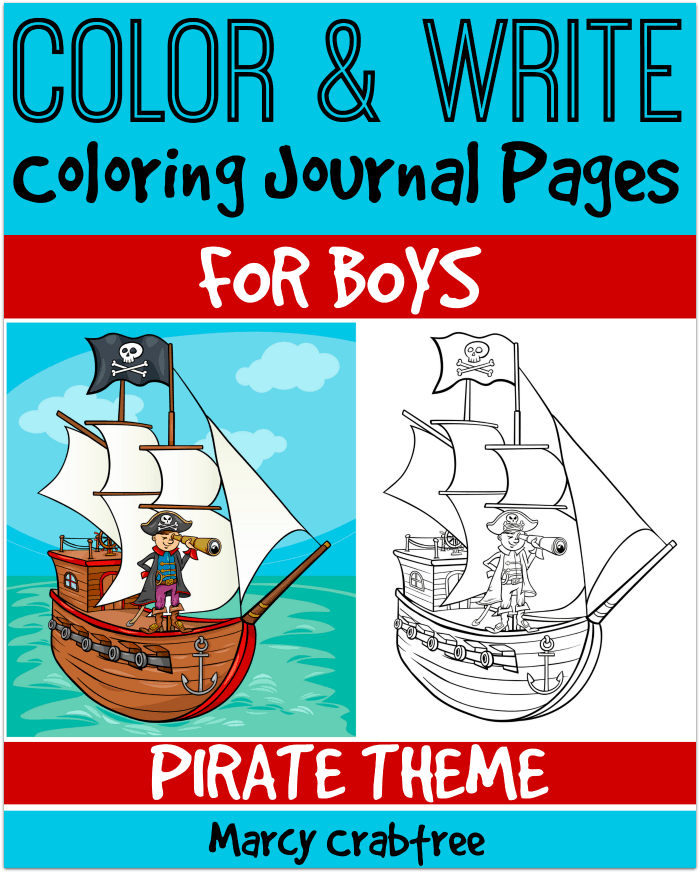 Color and Write Coloring Journal Pages for Boys - Pirate Theme