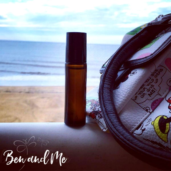 Essential Oils Roller Bottle at the beach