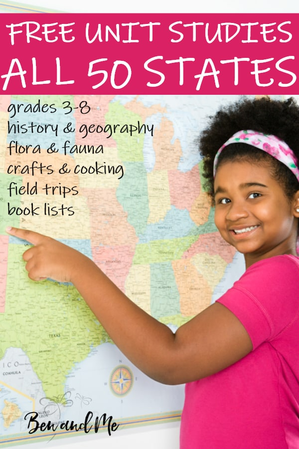 Use these FREE unit studies for all 50 states for a year of social studies for grades 3-8 or to enhance your usual homeschool curriculum. #homeschool #homeschooling #unitstudies #50states #homeed #homeeducation