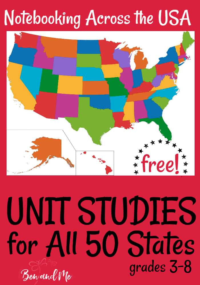 Study U.S. Geography for an entire year with these FREE Unit Studies for all 50 States! #homeschool #geography #50states #unitstudy #unitstudies