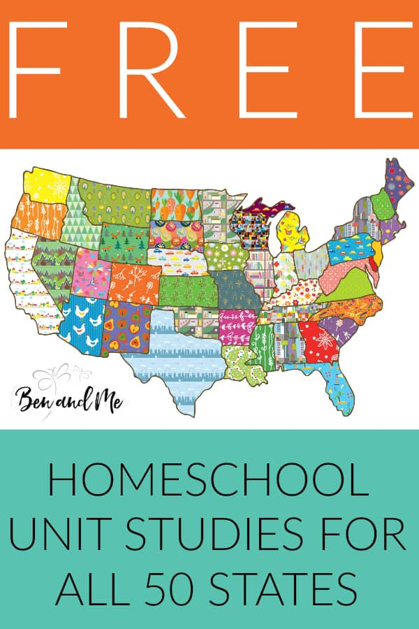Have a blast studying U.S. Geography with these free unit studies for all 50 states. Includes extensive book list, famous people and landmarks, state history, field trip ideas, arts and crafts and regional recipes! Perfect for homeschool students grades 3-8. #homeschool #geography #50states #unitstudies #statehistory