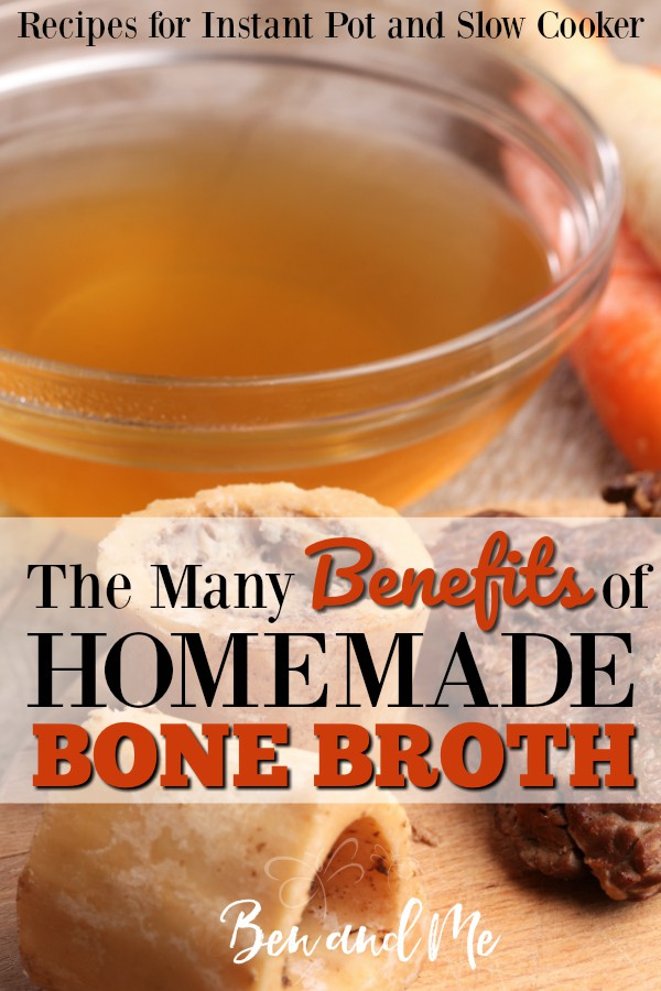Learn the health benefits of eating homemade bone broth and how to make it in your slow cooker or Instant Pot. Includes recipe variations & instructions for storage. #bonebroth #instantpot #slowcooker #instantpotrecipe #slowcookerrecipe #beefbonebroth #chickenbonebroth