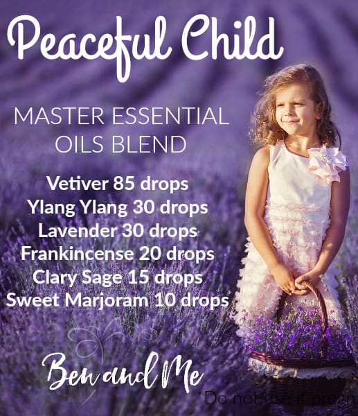 Essential Oils for a Peaceful Child -- Do you have a child with ADHD, Asperger's, Autism, Anxiety, or Tourette's? Could you use a more peaceful child? Try this DIY essential oil recipe. #essentialoils #aromatherapy #wellness #ADHD #autism #aspergers #tourettes #SPD