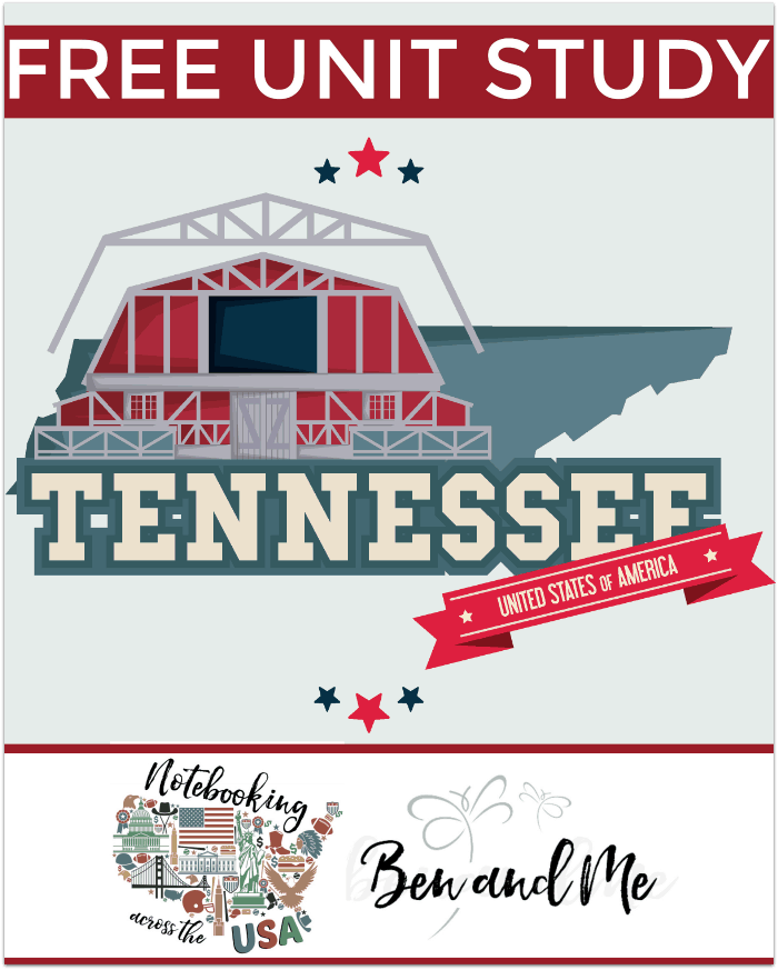"""FREE Tennessee Unit Study for grades 3-8 -- learn about the """"Volunteer State"""" in this 16th installment of Notebooking Across the USA."""