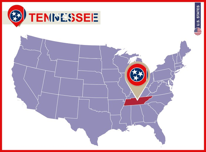 Tennessee State on USA Map. Tennessee flag and map. US States.