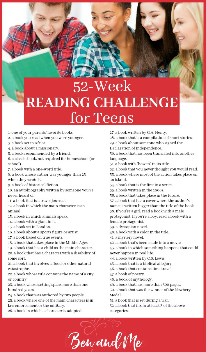 This reading challenge for teens is fun, outside the box, and interesting enough your kids will want to accept my challenge to read 52 books in the coming year! #homeschool #readingchallenge #homeschooling #teens #highschool #middleschool