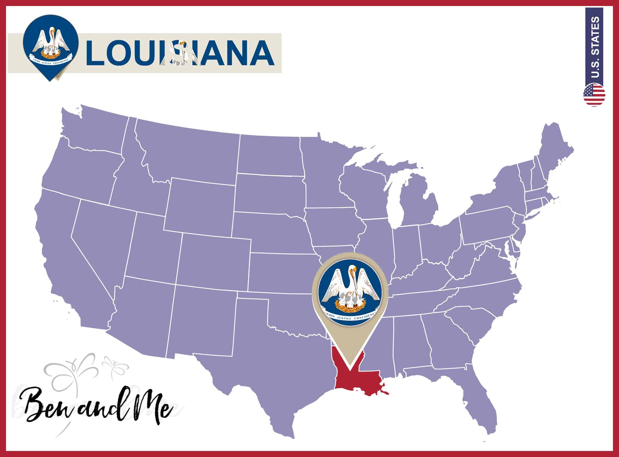 Notebooking Across The USA Louisiana Unit Study Ben And Me - Us map louisiana