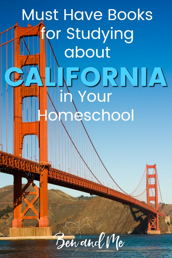 California Book Basket -- must read books for visiting or studying The Golden State! Includes other ideas and resources for a California unit study! #homeschool #traveltheUSA #californiaunitstudy #unitstudies #homeschoolgeography