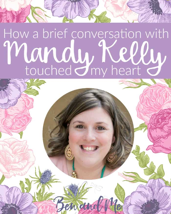 An unexpected blessing -- a brief conversation with blogger Mandy Kelly -- touched my heart. Her legacy of worshipful living lives on in all of us who learn from her example.