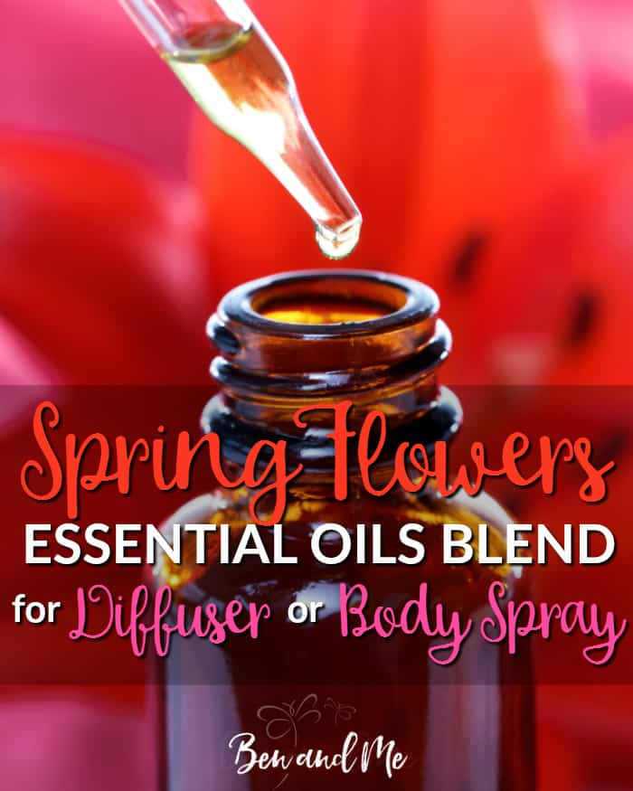 Try this Spring Flowers essential oils blend. I think you'll love this mix of scents as much as I do. And the big bonus? No sneezing! #essentialoils #aromatherapy #essentialoilsrecipes #DIYperfume #DIYbodyspray