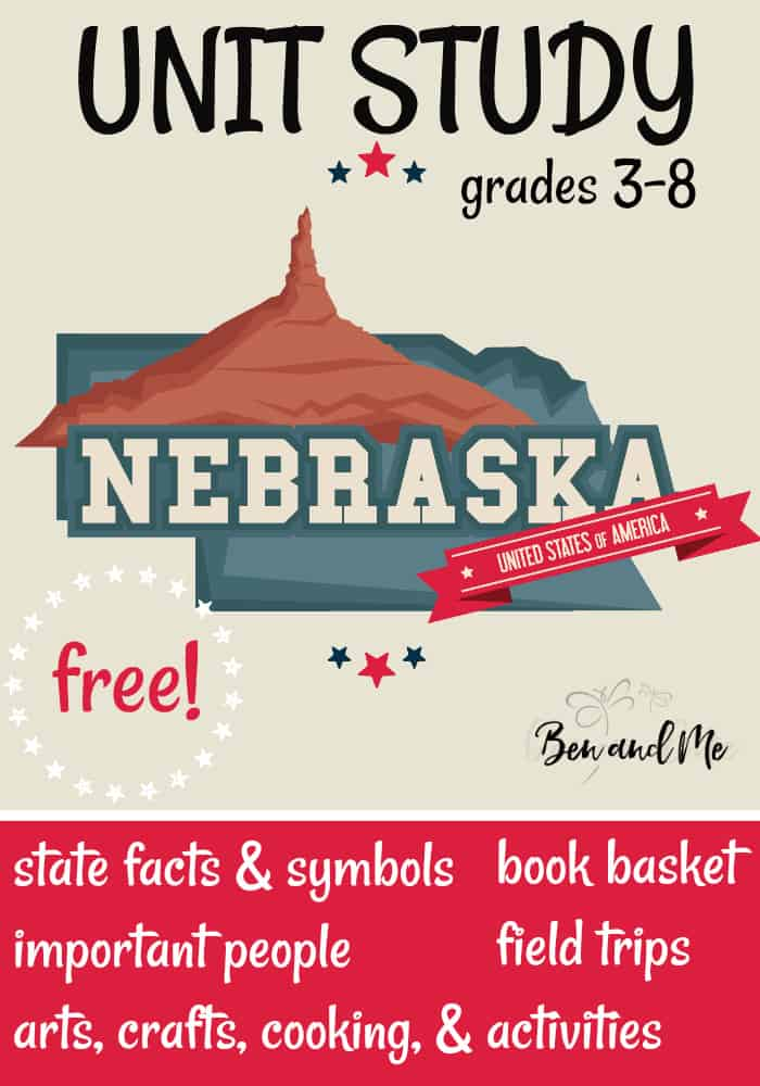 """FREE Nebraska Unit Study for grades 3-8 -- learn about the """"Cornhusker State"""" with books, arts and crafts, recipes, and more! #homeschool #homeschooling #unitstudies #nebraska #homeeducation"""