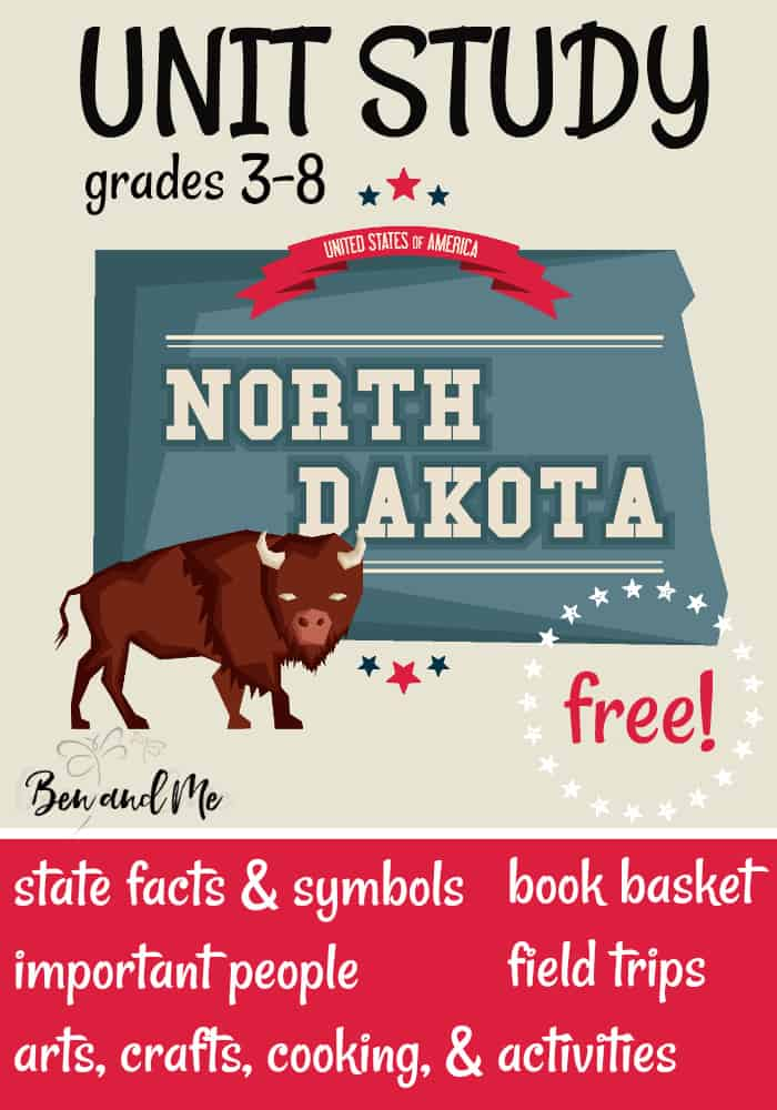 FREE North Dakota Unit Study for grades 3-8 -- learn about the