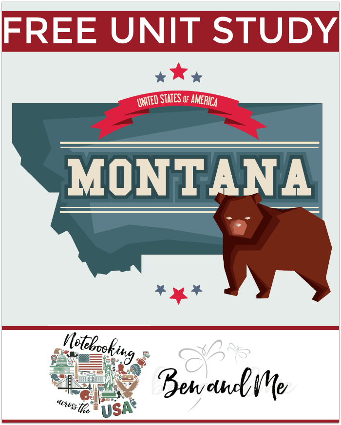 "Use this FREE Montana homeschool unit study with book basket, road trip ideas, notebooking, and more to study ""The Treasure State."" Targets grades 3-8."