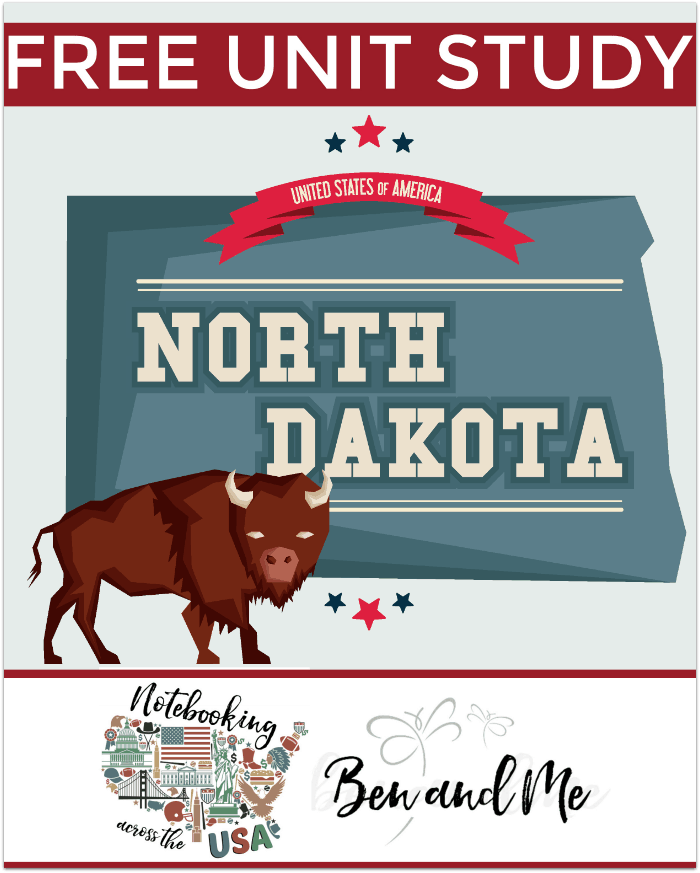 FREE North Dakota Unit Study -- Come learn about the Peace Garden State in this 39th installment of Notebooking Across the USA. Includes a book basket and road trip ideas!