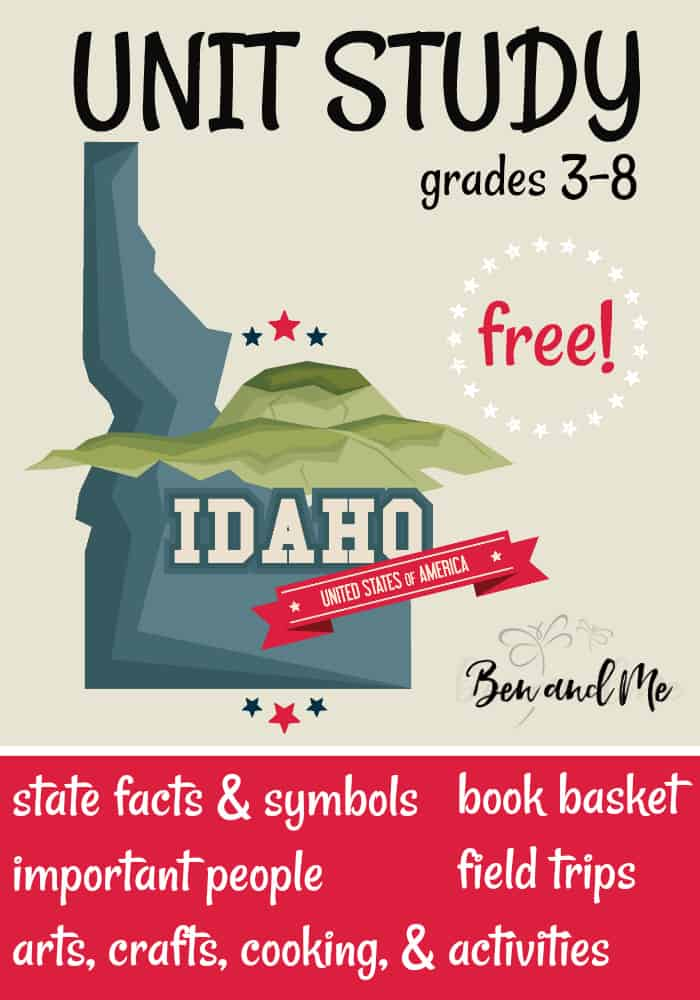"FREE Idaho Unit Study for grades 3-8 -- learn about the ""Gemstone State"" with books, arts and crafts, recipes, and more! #homeschool #homeschooling #unitstudies #montana #homeeducation"