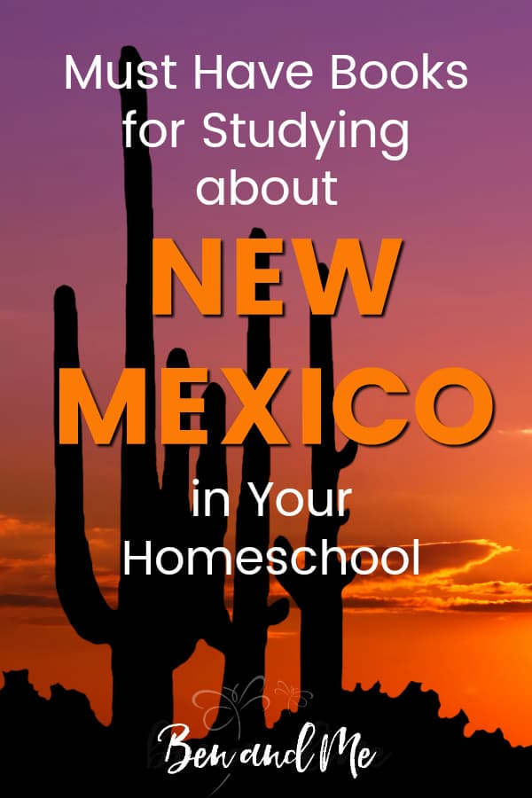 New Mexico Book Basket -- must read books for visiting or studying The Land of Enchantment! Includes other ideas and resources for a New Mexico unit study! #homeschool #traveltheUSA #newmexicounitstudy #unitstudies #homeschoolgeography