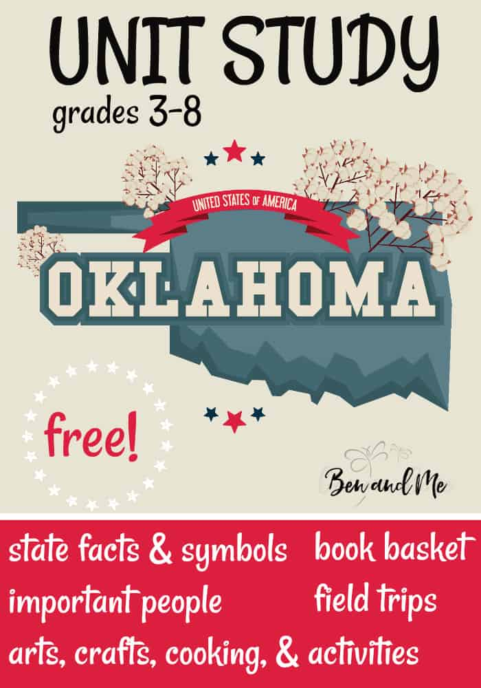 "FREE Oklahoma Unit Study for grades 3-8 -- learn about the ""Sooner State"" with books, arts and crafts, recipes, and more! #homeschool #homeschooling #unitstudies #oklahoma #homeeducation"