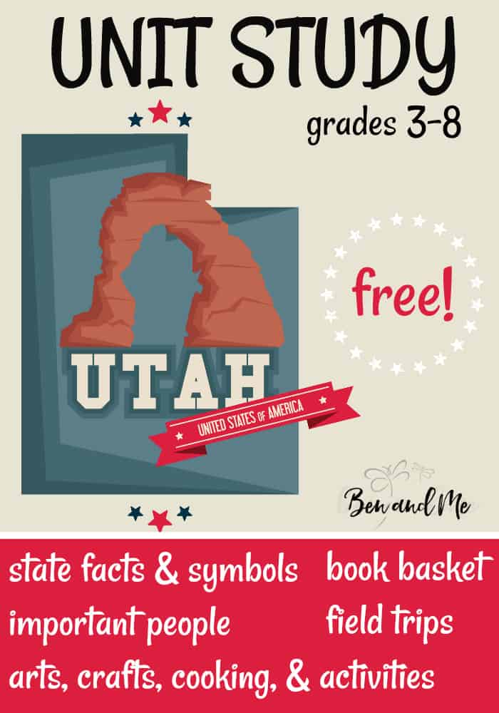 "FREE Utah Unit Study for grades 3-8 -- learn about the ""Beehive State"" with books, arts and crafts, recipes, and more! #homeschool #homeschooling #unitstudies #utah #homeeducation"