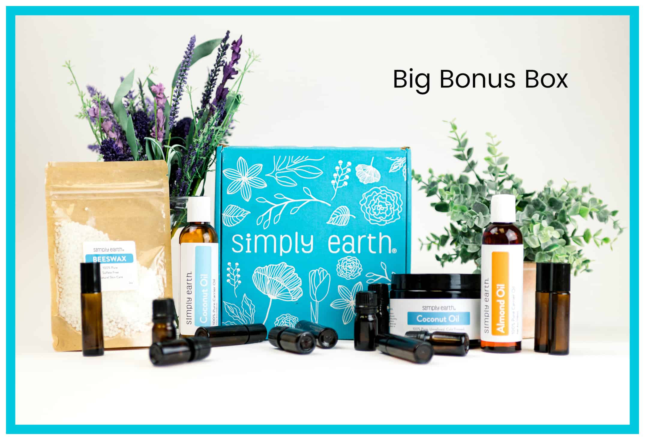 "With your first Simply Earth essential oils recipe box, they also send a ""Big Bonus Box"" that contains 2-4 oz bottles of carrier oils, a tub of solid coconut oil, beeswax, 6 roller bottles, and 6-5ml dropper bottles for blending, absolutely free. They replenish it all for free every 6 months as well. This box alone has a value of nearly $45. #essentialoils #aromatherapy #simplyearth"