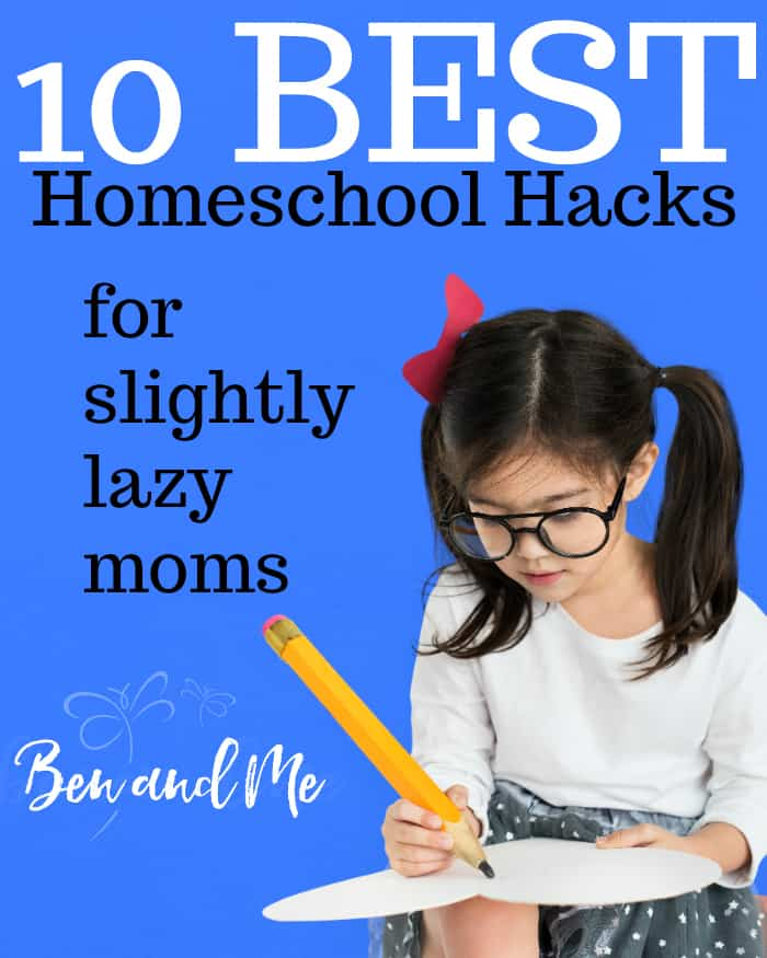 Are you a slightly lazy homeschool mom (like me!)? Perhaps my best homeschool hacks will help you get done what needs to be done.