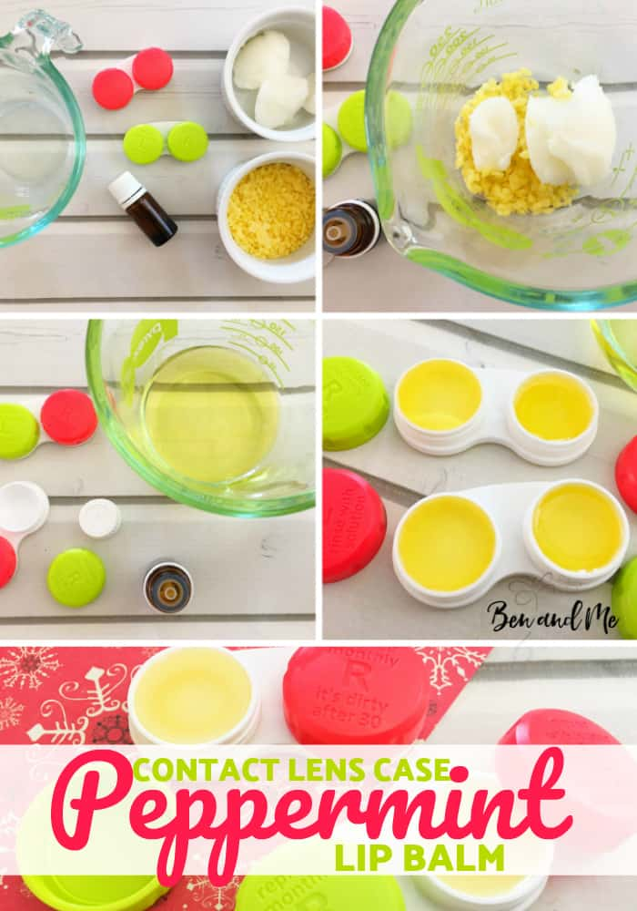 Make this yummy peppermint lip balm recipe for yourself or to give as a gift. The repurposed contact lens case makes it super fun! #essentialoils #DIY #lipbalm