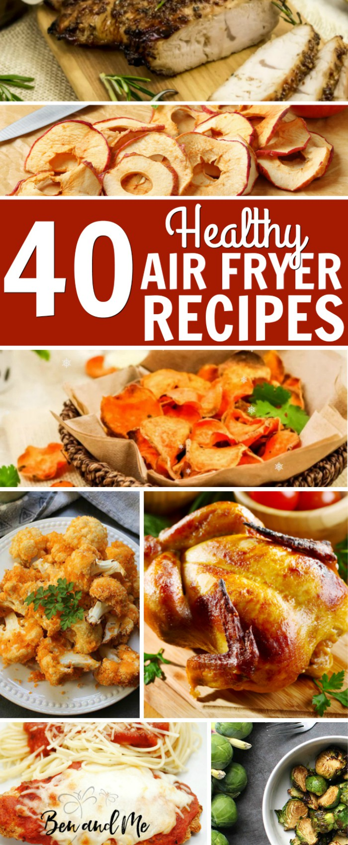 I've compiled 40 Healthy Recipes for the Air Fryer here all ready for you to get started. The #airfryer saves time, is less messy than other cooking methods, and fries with little or no oil! #recipes #airfryer #airfryerrecipes #healthyrecipes #airfryermeals