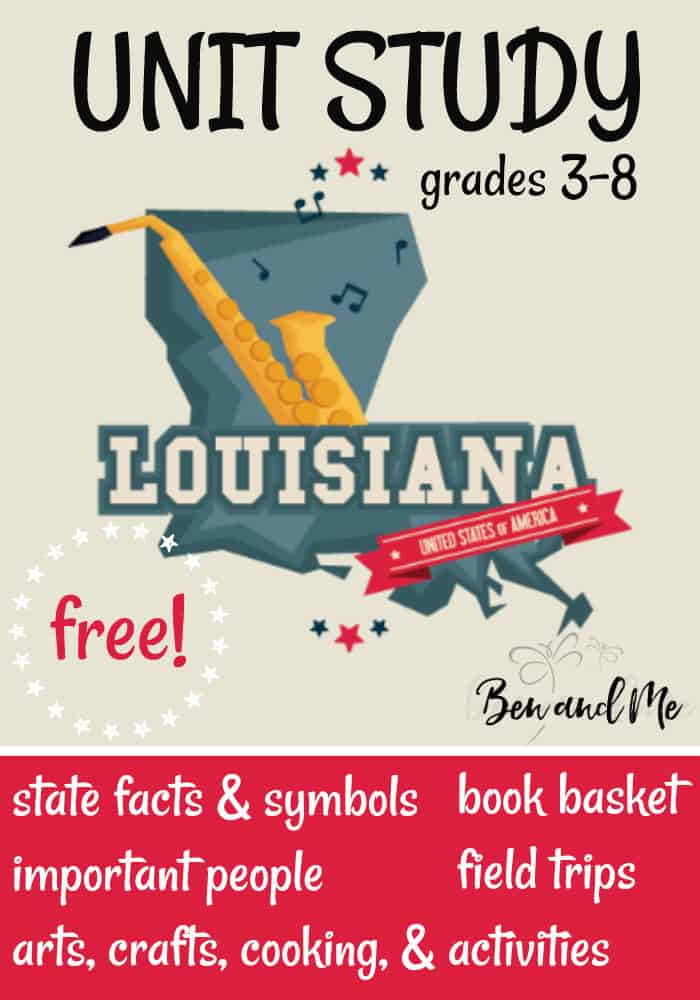 """FREE Louisiana Unit Study for grades 3-8 -- learn about the """"Pelican State"""" with books, arts and crafts, recipes, and more! #unitstudies #homeschool #homeschooling #geography"""