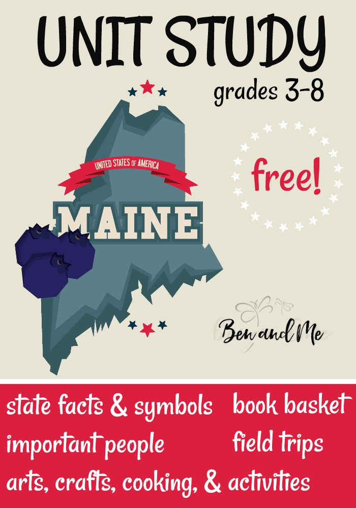 FREE Maine Unit Study for grades 3-8 -- learn about the