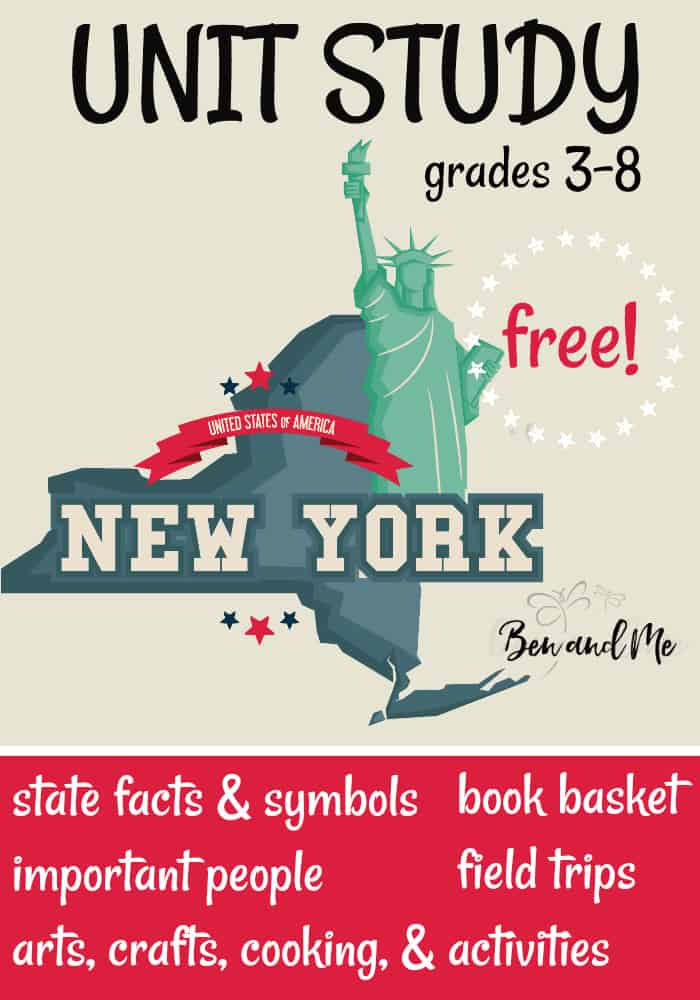 "FREE New York Unit Study for grades 3-8 -- learn about the ""Empire State"" with books, arts and crafts, recipes, and more! #unitstudies #homeschool #homeschooling #geography"
