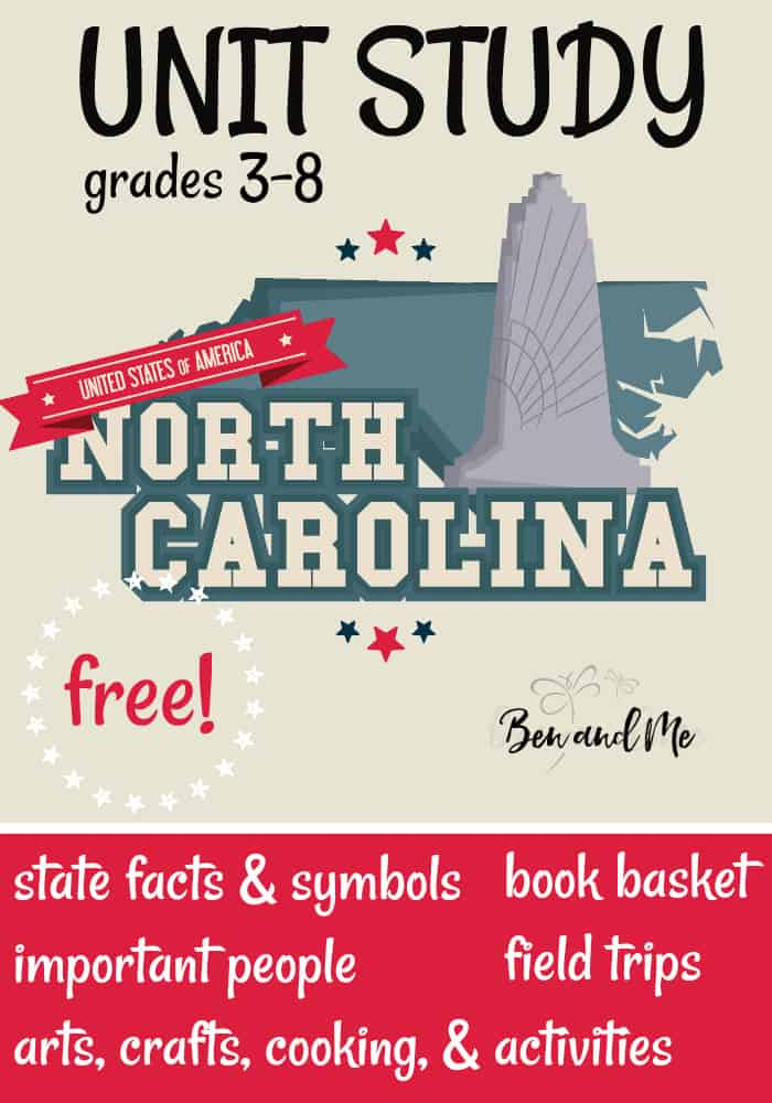 "FREE North Carolina Unit Study for grades 3-8 -- learn about the ""Tarheel State"" with books, arts and crafts, recipes, and more! #unitstudies #homeschool #homeschooling #geography"