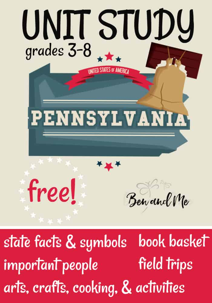 FREE Pennsylvania Unit Study for grades 3-8 -- learn about the
